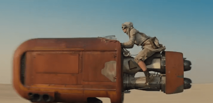 Daisy Ridley on sweet ride which is like one part of a podracer