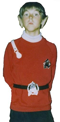 Ryan Britt as a kid dressed a Vulcan