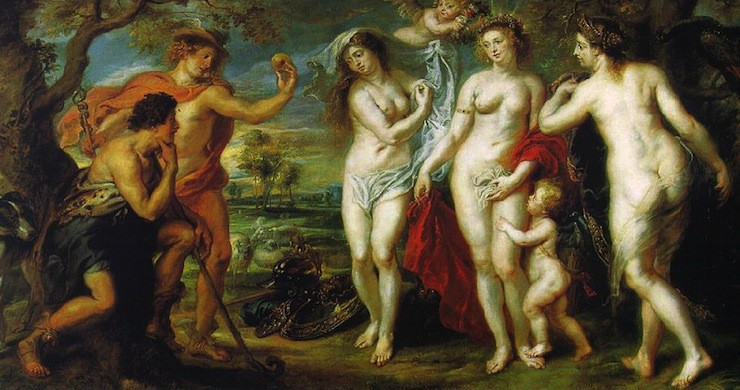 """""""The Judgment of Paris"""" by Peter Paul Rubens, 1639"""