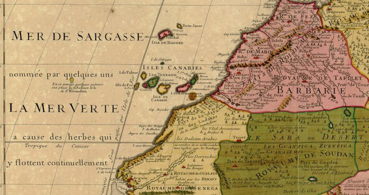 St Brendan's Isle (far left) on Guillaume Delisle's map of North West Africa, 1707