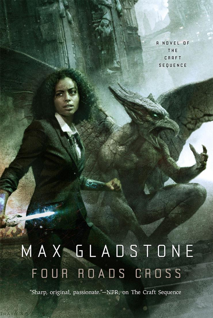 Four Roads Cross Max Gladstone cover Chris McGrath