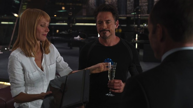 Tony Stark, Pepper Potts, Phil Coulson, the Avengers