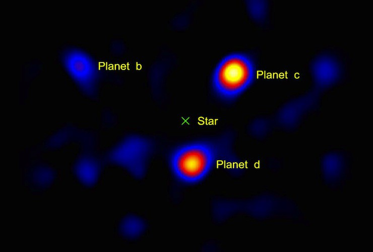 Planets orbiting the star HR8799 via the NASA/JPL-Caltech/Palomar Observatory
