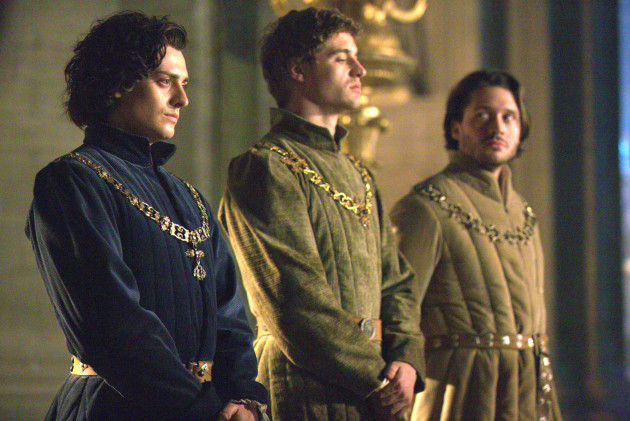 The three York brothers in The White Queen, with Richard (Aneurin Barnard) on the left, and Edward (Max Irons) in the center, both looking particularly Hollywood-pretty.