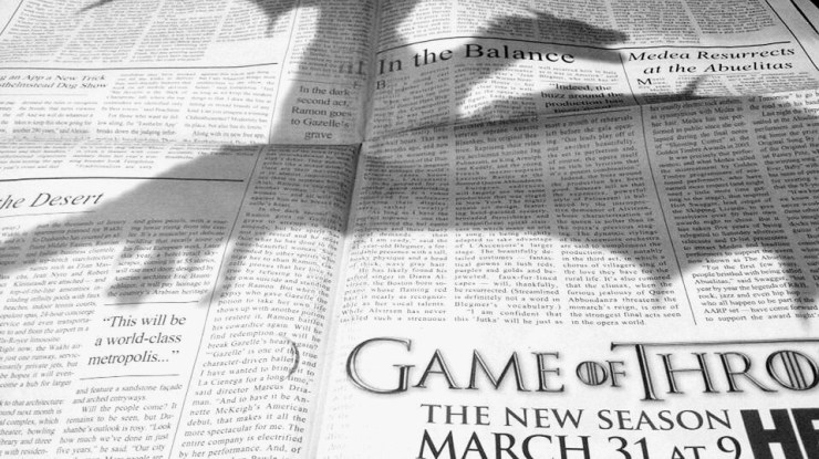 Game of Thrones New York Times dragon advertisement