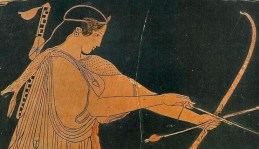 Detail from an Athenian vase depicting Artemis and Arktaion, c.480 BC