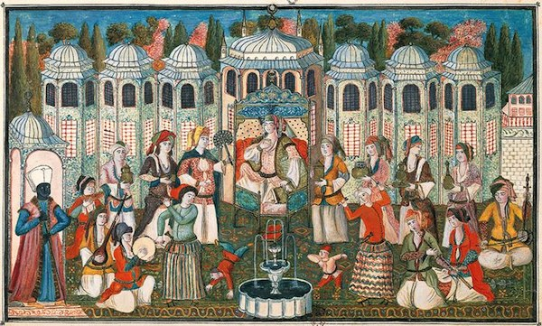 Ottoman garden party hosted by the Queen Mother (Valide Sultan) for Madame Girardin, late 17th-century