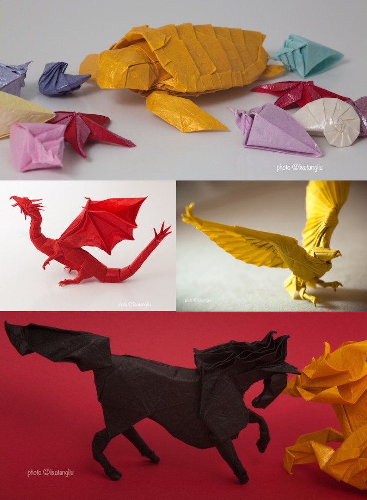 Ken Liu paper-folding origami examples
