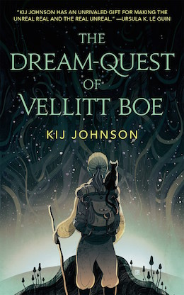 Cover of the book The Dream-Quest of Vellit Boe. The cover shoes an older woman with blond hair pulled back in a pony tail standing beneath a starry sky. She carries a walking stick and a backpack. A black cat sits on her shoulder.