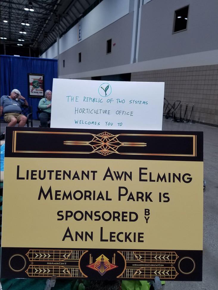 Ancillary Justice Lieutenant Awn Memorial Park Worldcon Ann Leckie tea breaks