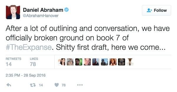 Daniel Abraham, Twitter, the Expanse series