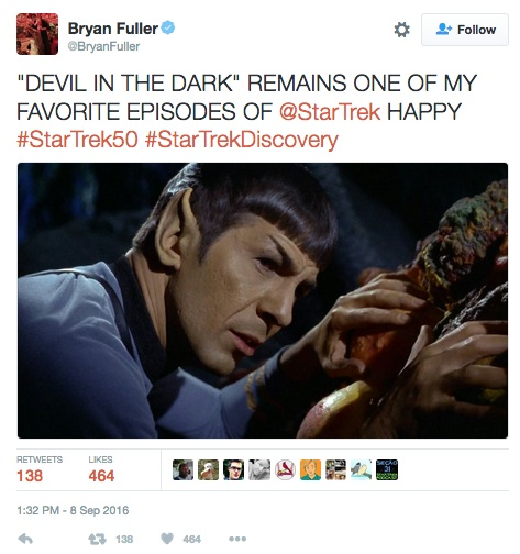 Bryan Fuller, Star Trek tweet