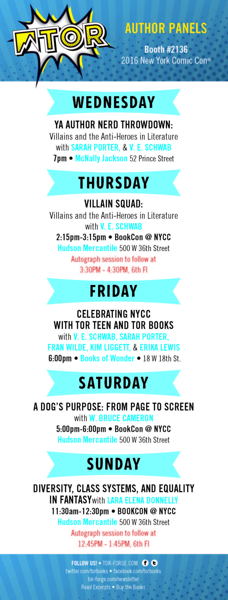 Tor Books NYCC New York Comic-Con BookCon 2016 author signings giveaways schedule