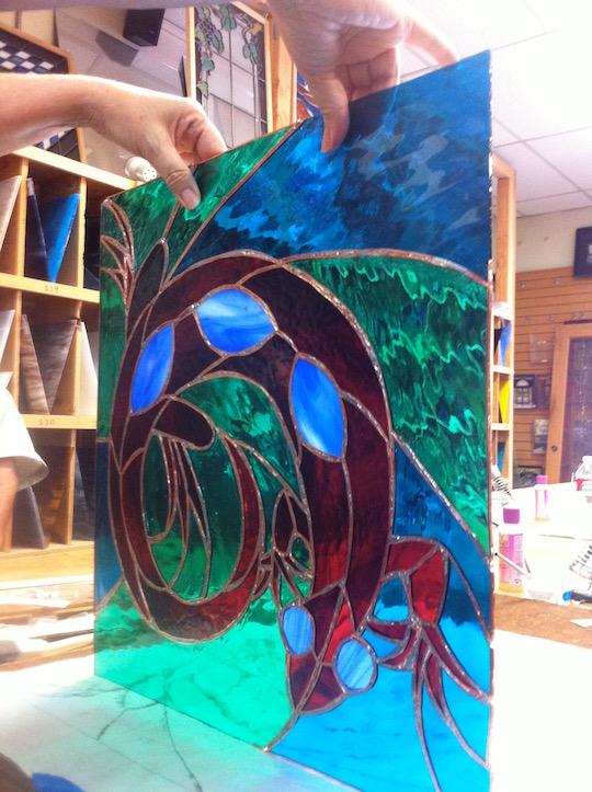 Neal Shusterman stained glass lizard