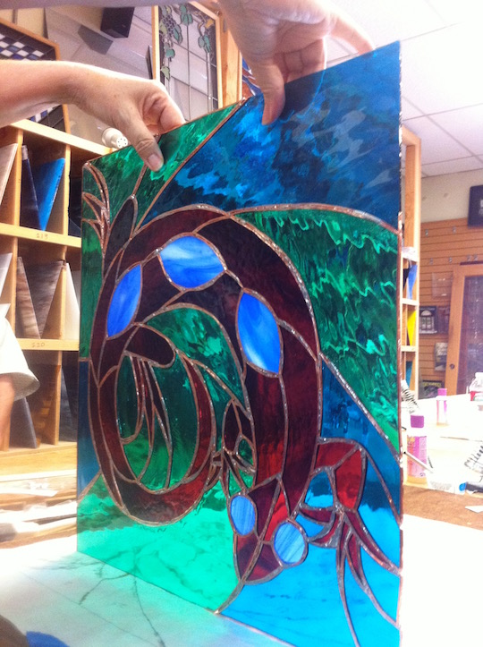 Neal Shusterman stained glass lizard