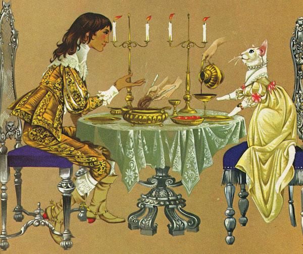 """Illustration for """"The White Cat"""" by Janet & Anne Grahame Johnstone (c.1972)"""