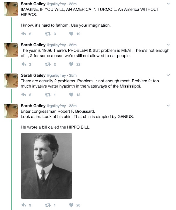 Sarah Gailey tweets about hippos