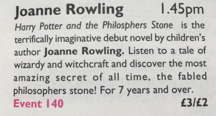 Harry Potter 20 years J.K. Rowling Joanne Rowling Harry Potter and the Philosopher's Stone Edinburgh International Book Festival