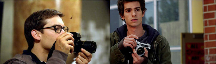 Peter Parker camera Spider-Man Tobey Maguire Andrew Garfield