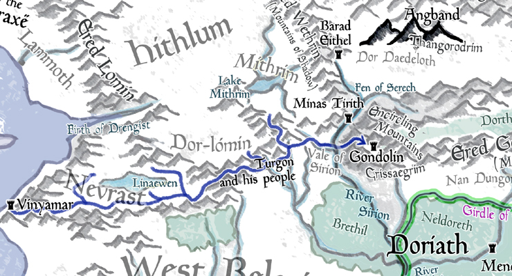 Tales from Topographic Beleriand: Gondolin, Galadriel, and