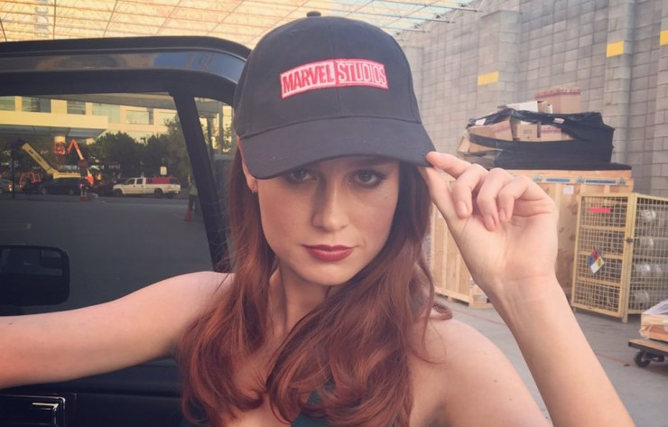 Brie Larson Captain Marvel Studios hat