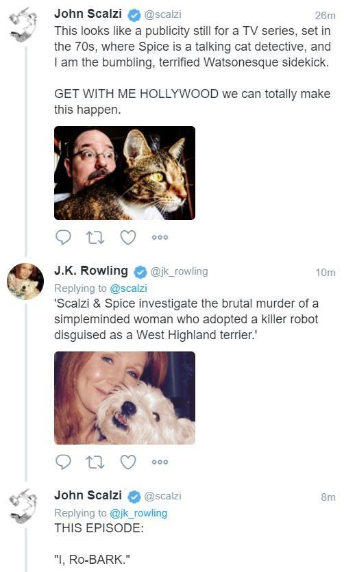 JK Rowling John Scalzi detective show tweet