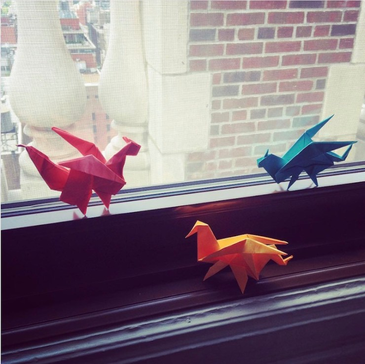 3 origami office dragons