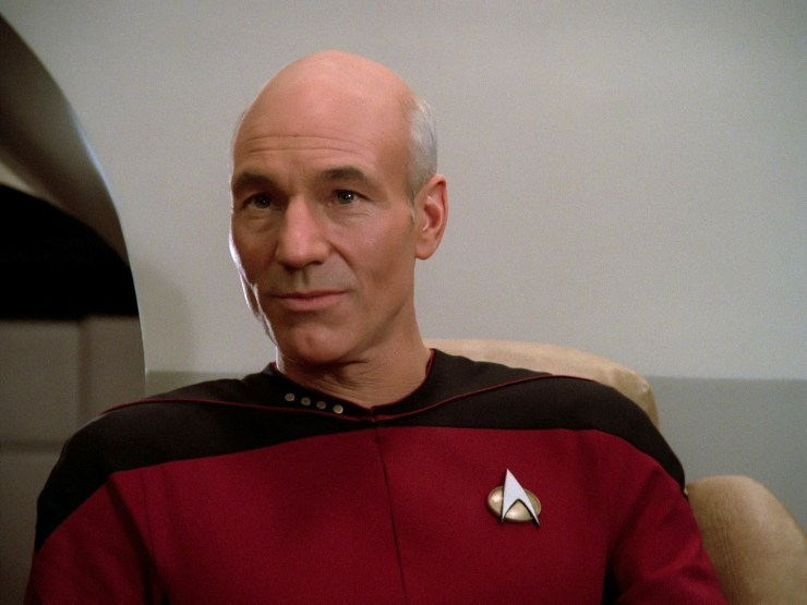 Jean-Luc Picard on the Enterprise bridge Farpoint