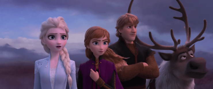 Elsa, Anna, Olaf, Sven, and Kristoff in Frozen 2