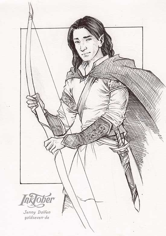 a sketch of an elf holding a long bow