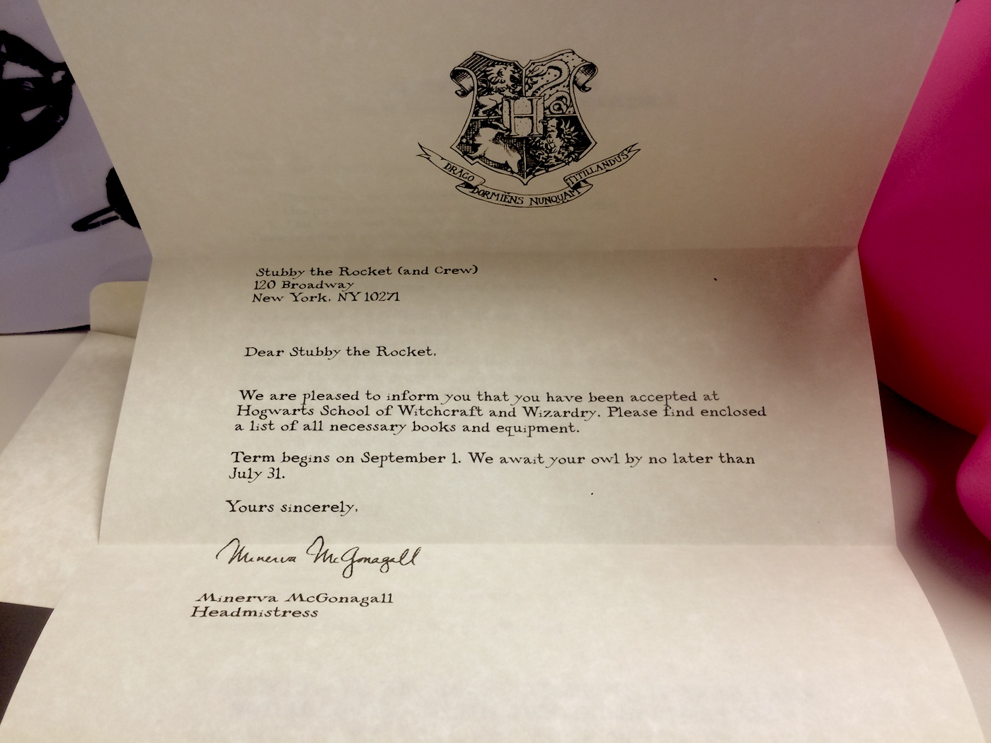Stubby the Rocket Hogwarts letter Tor.com 11th birthday