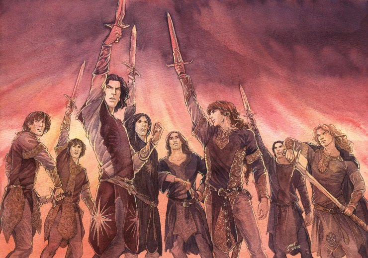 Eight elves standing together with swords