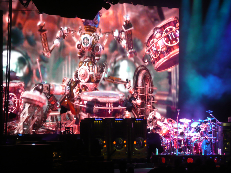 Photo of the stage during a Rush concert