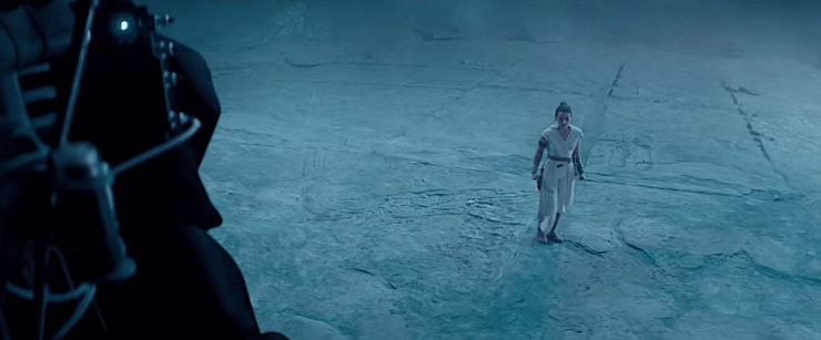 Rey (Daisy Ridley) faces the Emperor (Ian McDiarmid) in Star Wars: The Rise of Skywalker