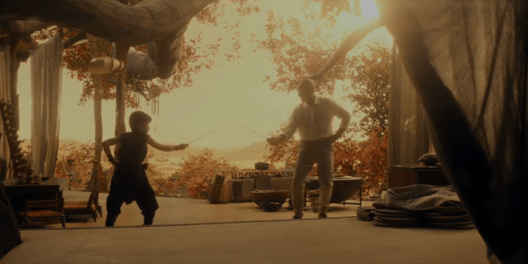 Picard (Patrick Stewart) and young Elnor (Ian Nunney) fencing in Star Trek: Picard