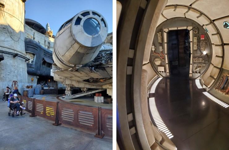 Millennium Falcon exterior and interior at Galaxy's Esfe