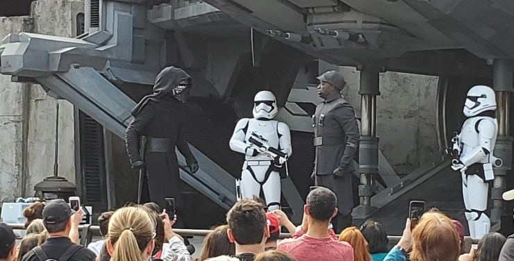 Kylo Ren and other First Order character actors at Galaxy's Edge