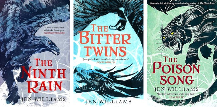 The Winnowing Flame trilogy book covers