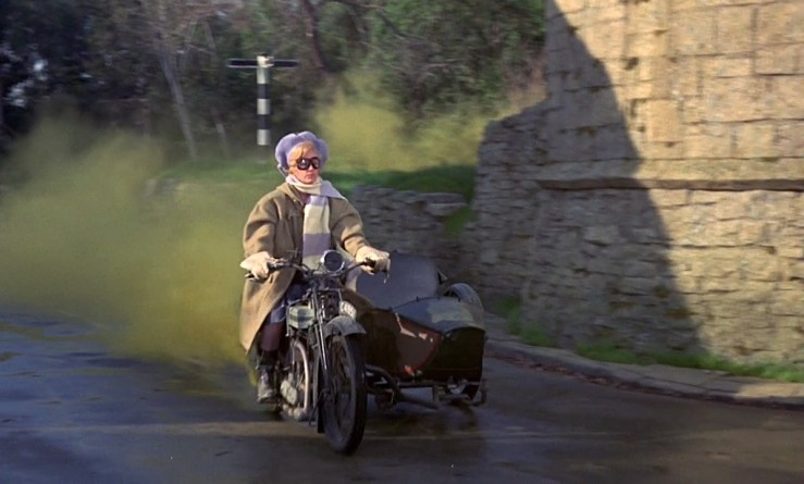 Bedknobs and Broomsticks, Ms Price on motorbike