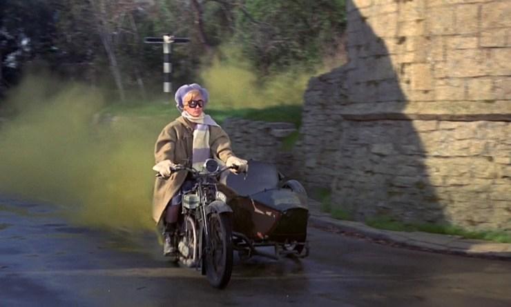 Bedknobs and Broomsticks, Ms Price on motorbike