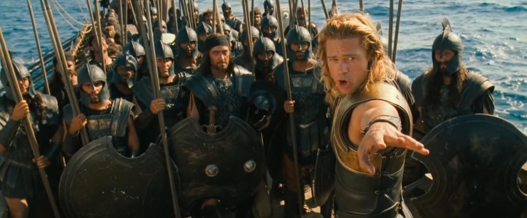 Troy, Achilles giving speech to troops on a boat