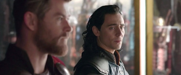 Thor: Ragnarok, Loki listening to Thor