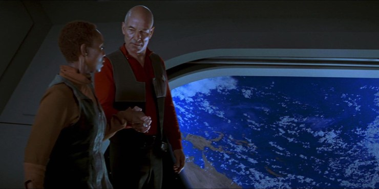Patrick Stewart and Alfre Woodard in Star Trek: First Contact