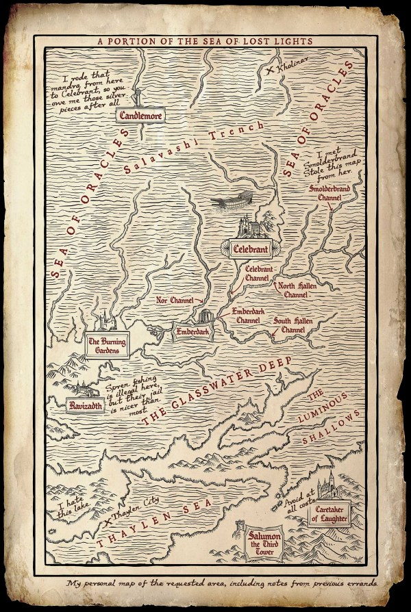Map of the Sea of Lost Lights by Isaac Stewart
