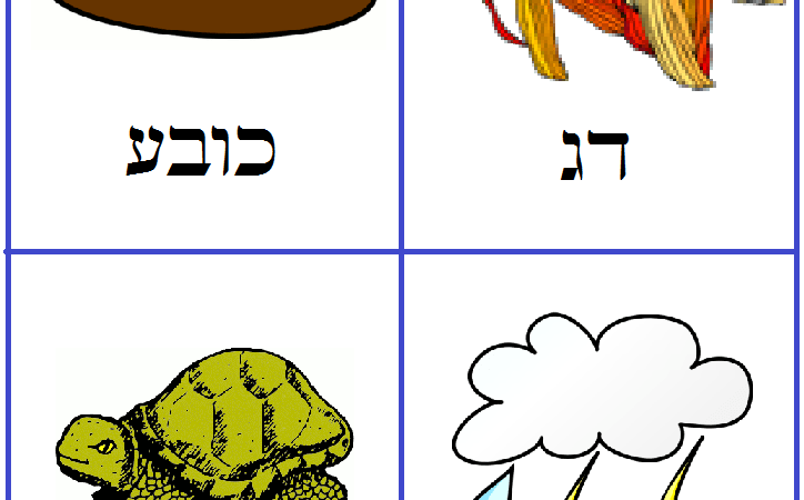 Hebrew vocabulary cards