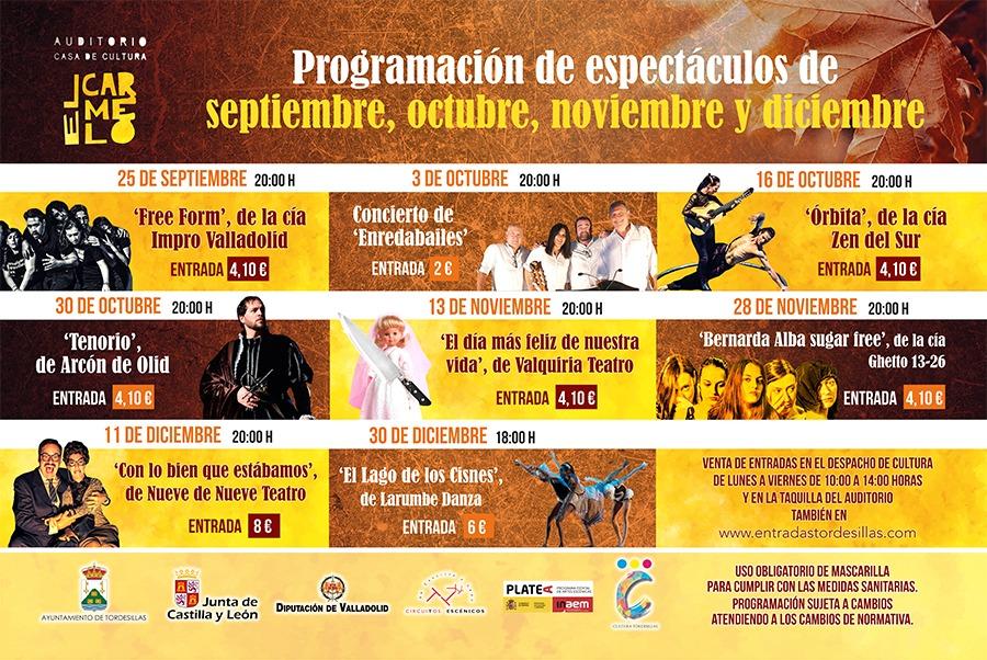 El auditorio «El Carmelo» acogerá seis espectáculos de calidad hasta navidades