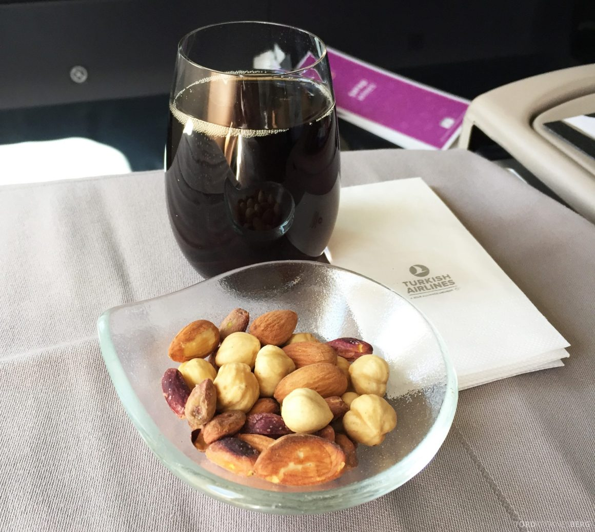 Turkish Airlines Business Class Boston aperitiff