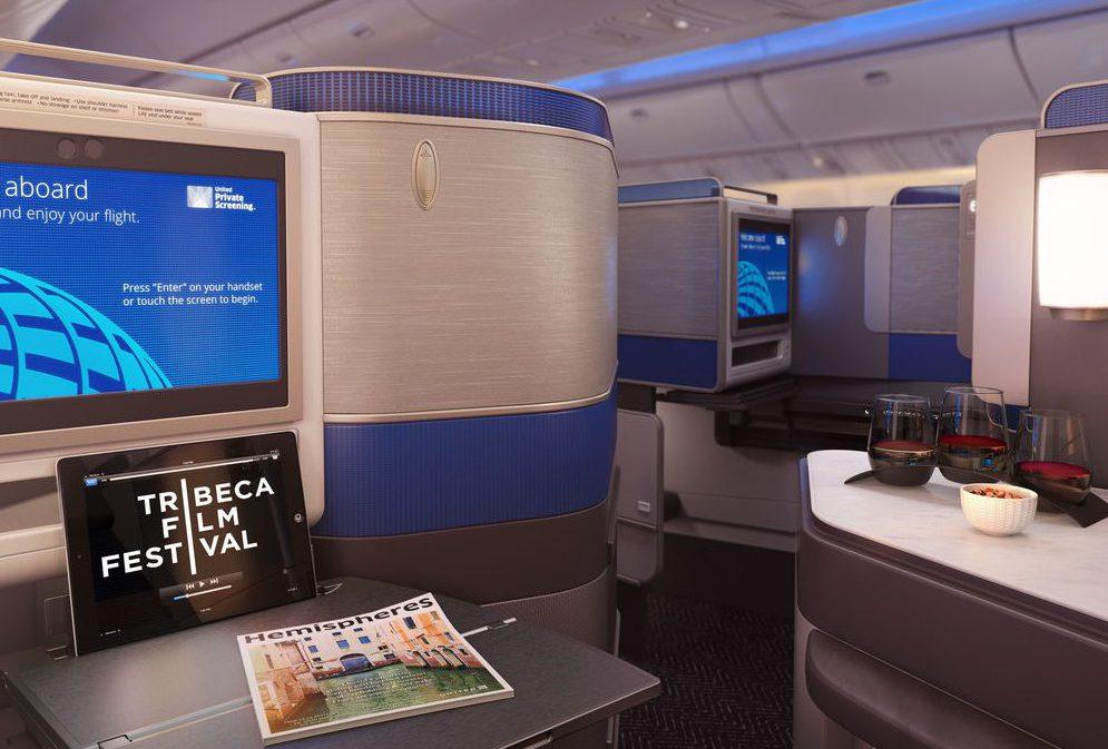 United Business Class Polaris skjerm