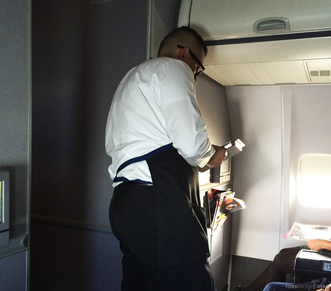 United Business Class San Juan til Houston kokk