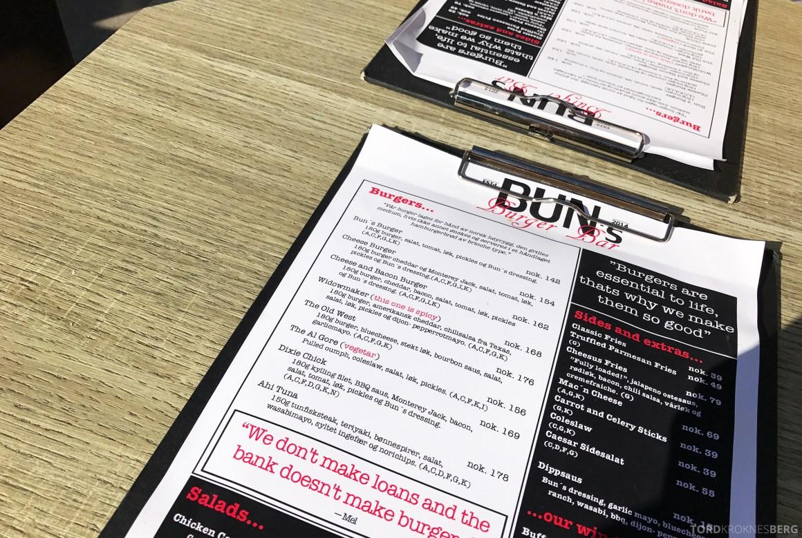 Buns Burgerbar Oslo meny